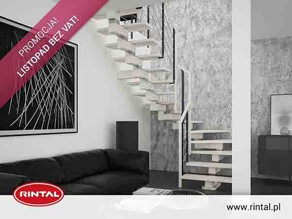 Rintal Polska, wiodący producent SCHODÓW do wnętrz organizuje PROMOCJĘ: LISTOPAD BEZ VAT w formie zniżki w wysokości obowiązującej stawki VAT na zakup schodów wraz z poręczą i montażem. Skorzystaj z bezpłatnego pomiaru, projektu oraz otrzymaj wizualizację
